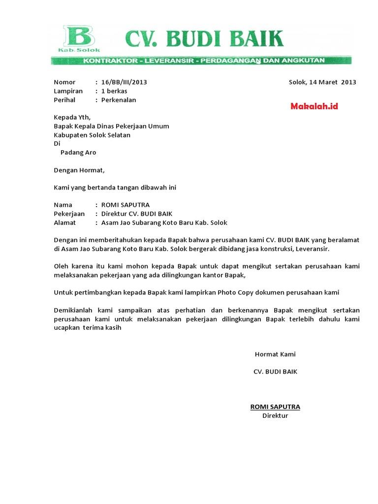 Surat Perkenalan Perusahaan Contoh Surat Dan Format