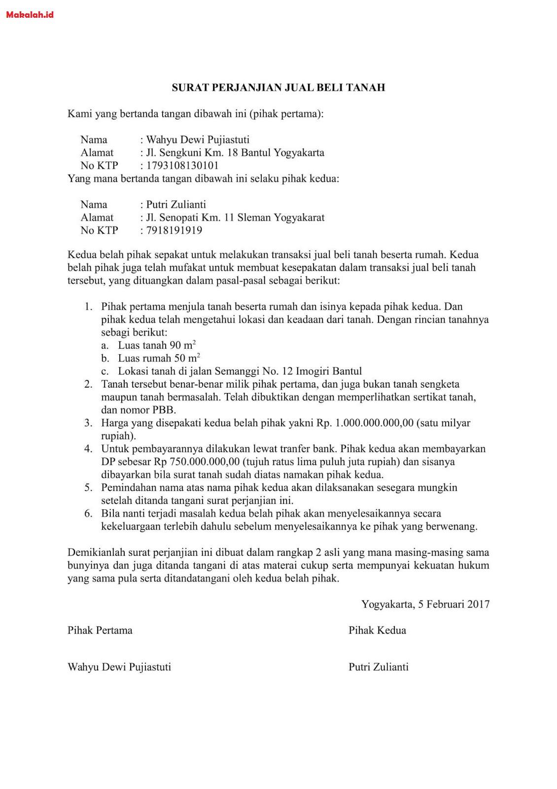 Contoh Surat Jual Beli Tanah Dan Format Perjanjiannya