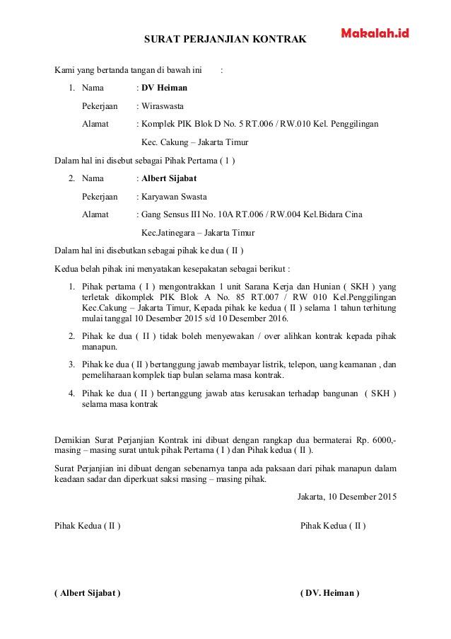 Contoh Surat Kontrak Sesuai Format Dan Pengertian Yang Terbaru