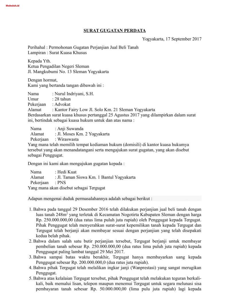Contoh Surat Gugatan Perdata Tentang Sengketa Jual Beli Hak