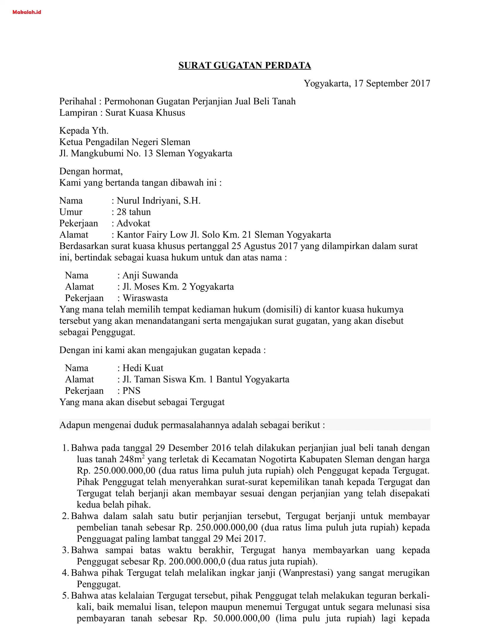 Surat kuasa dan kekuasaan ini dapat dialihkan kepada orang lain dengan hak substitusi hak  Contoh Surat Kuasa Khusus Perkara Perdata