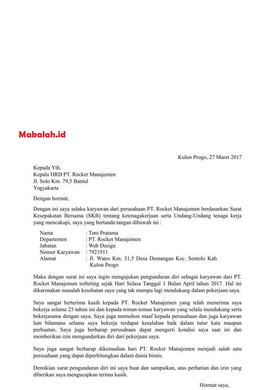 Resign Contoh Surat Pengunduran Diri Kerja Tulis Tangan