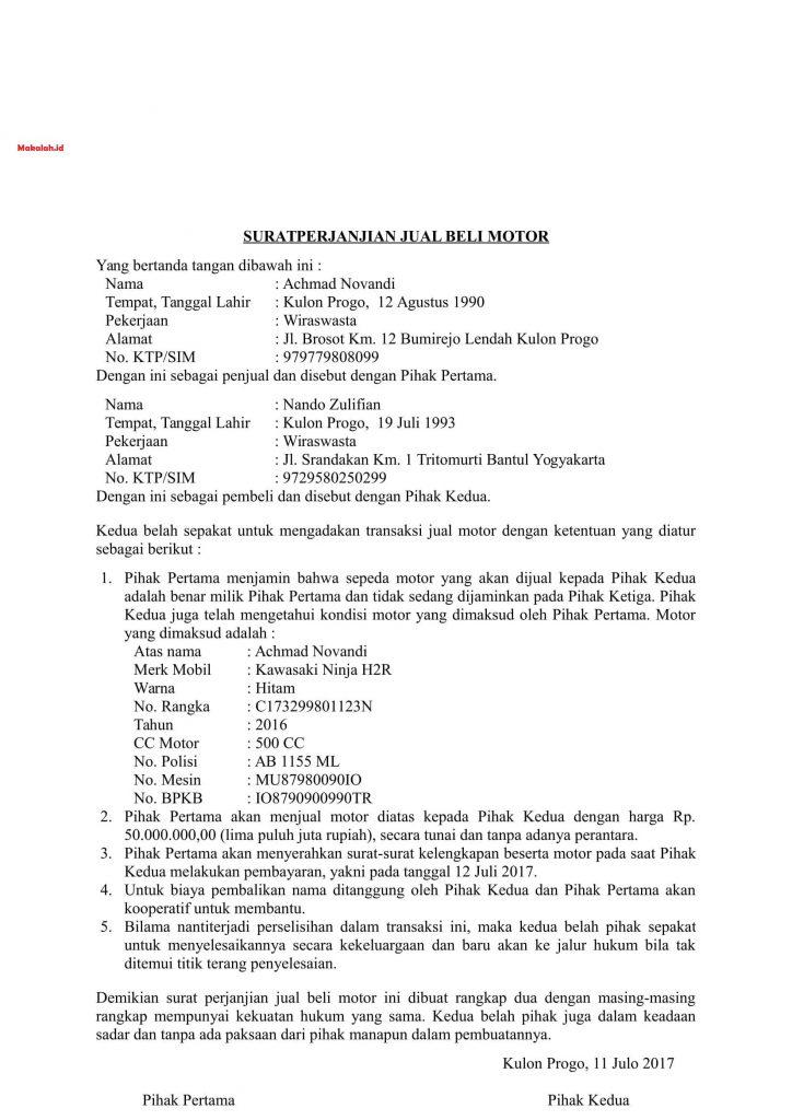 4 Contoh Surat Perjanjian Jual Beli Motor Untuk Penjual Dan Pembeli