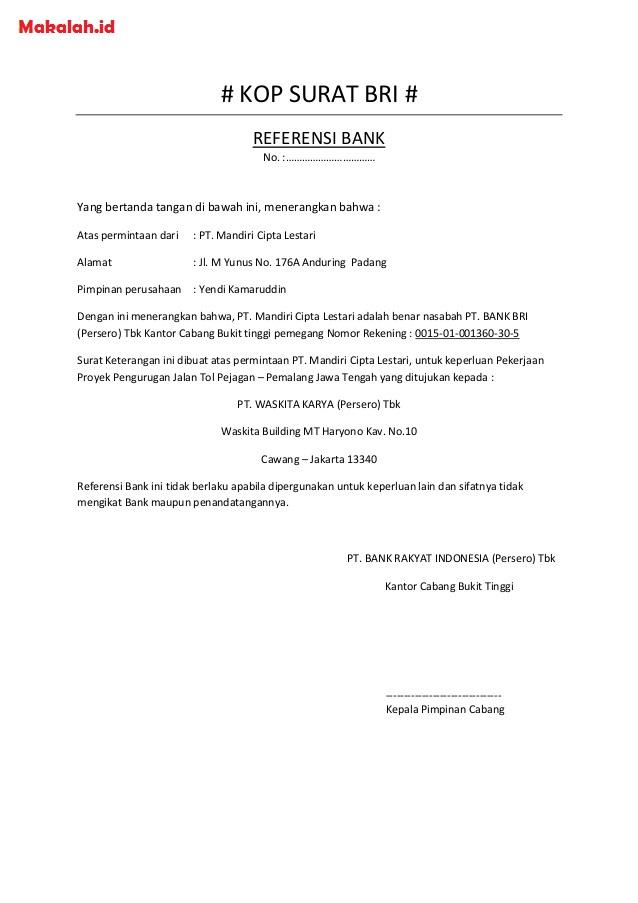 26 Contoh Surat Pembukaan Rekening Bank Info Dana Tunai