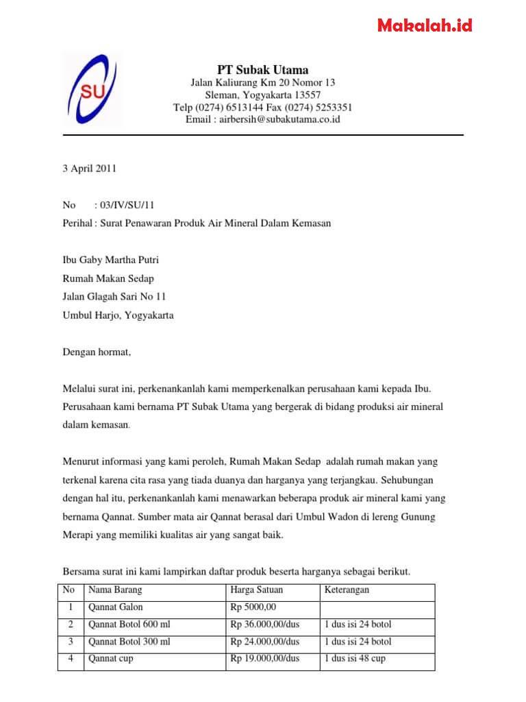 Contoh Surat Resmi Penawaran