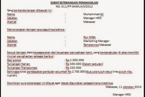 Surat Keterangan Penghasilan Karyawan