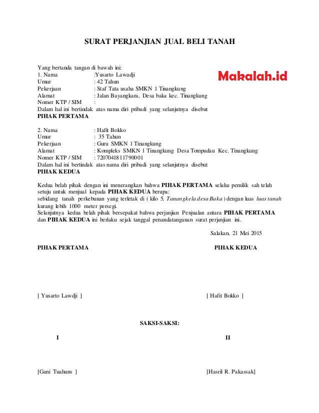 3 Contoh Surat Jual Beli Tanah Dan Format Lengkapnya