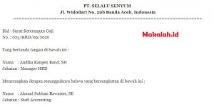 4 Contoh Surat Keterangan Penghasilan Karyawan, Wiraswasta ...