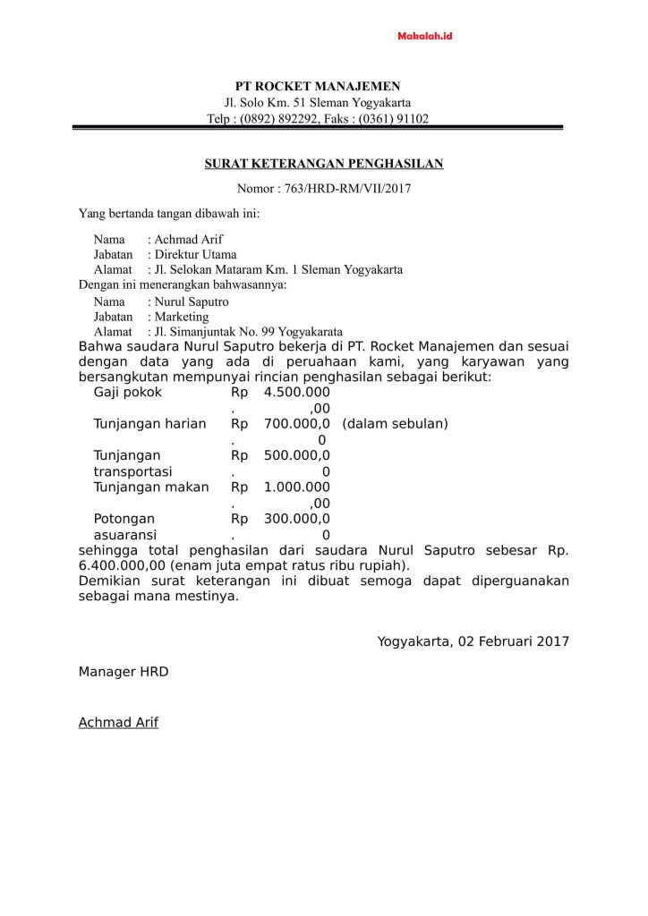 4 Contoh Surat Keterangan Penghasilan Karyawan Wiraswasta