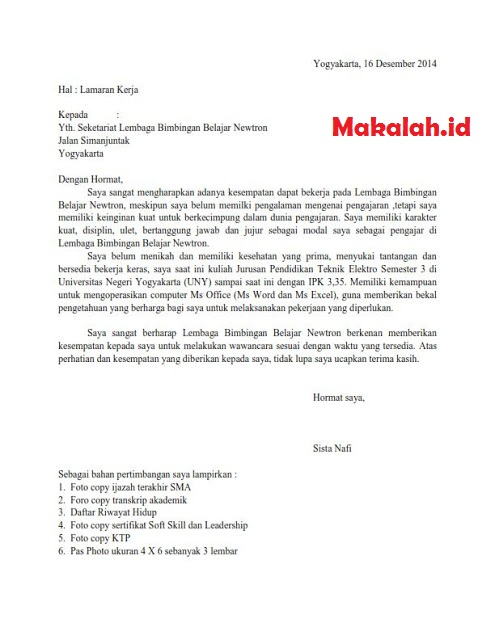 3 Contoh Surat Lamaran Kerja Guru Negeri Dan Swasta