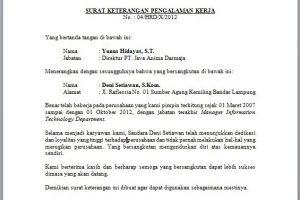 Contoh Surat Paklaring PT. Java Anima Darmaja