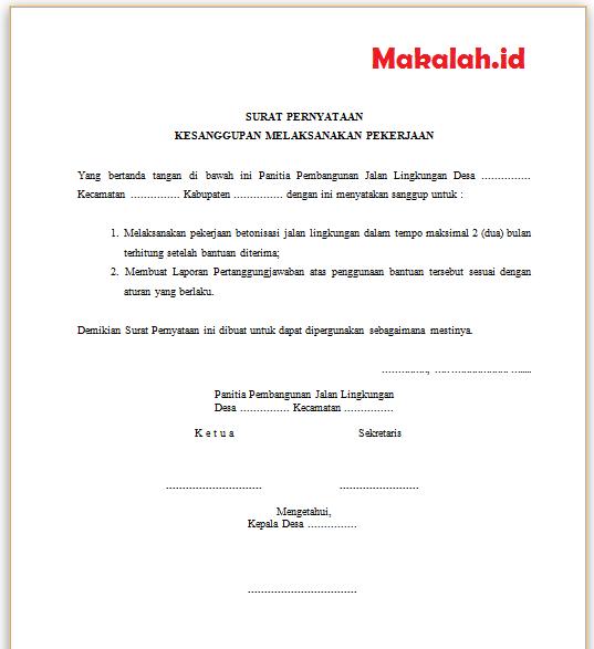 2 Contoh Surat Pernyataan Kesanggupan Kerja Dan Pembayaran