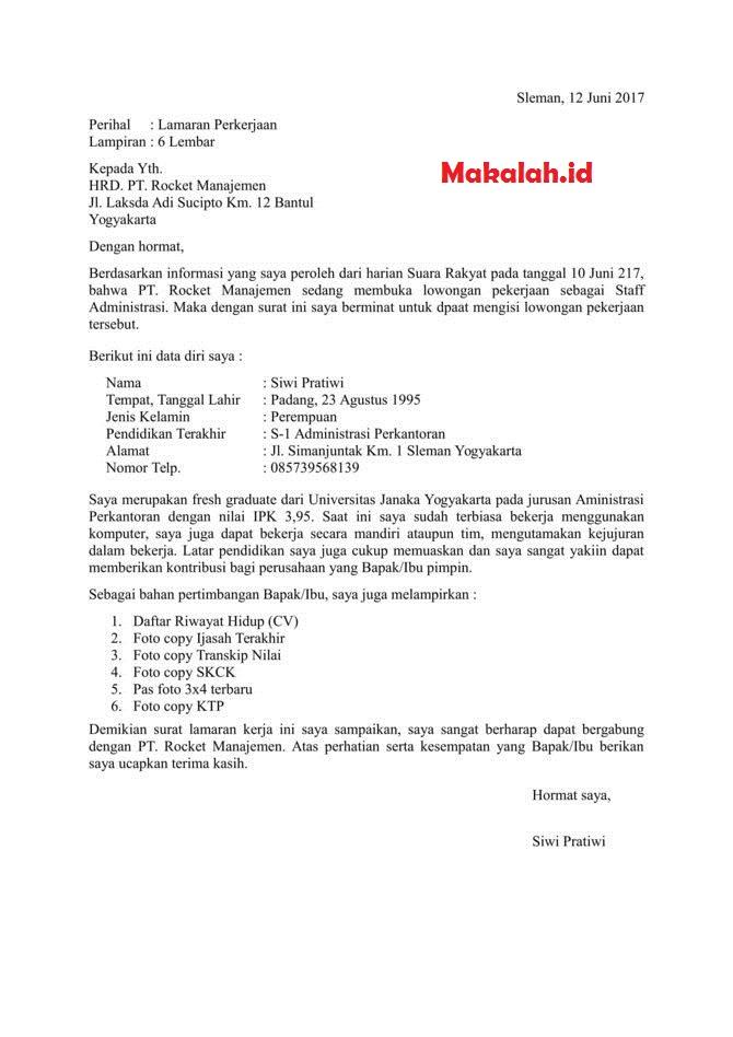 Contoh Surat Lamaran Kerja Di Bank Mandiri Dan Bank Jatim