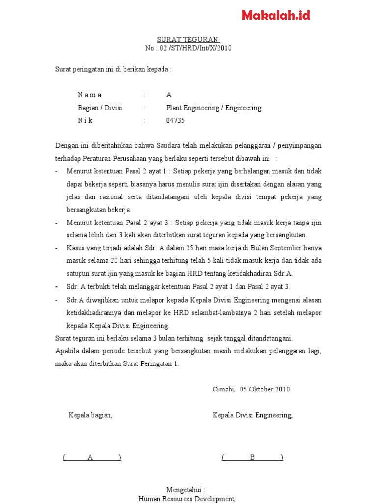 4 Contoh Surat Peringatan Atau Teguran Dan Definisinya Lengkap