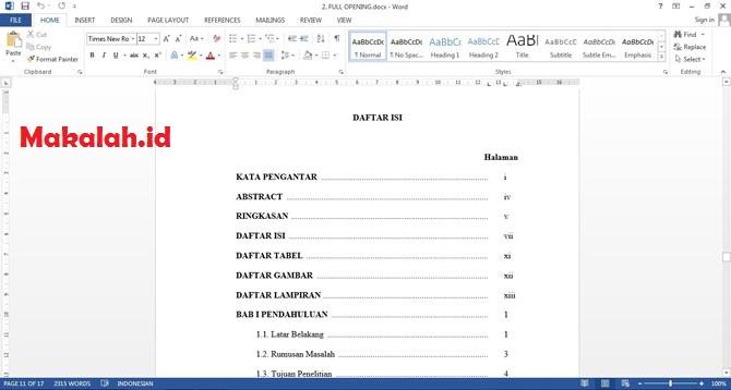 Cara Membuat Daftar Isi Di Word 2000 2003 2007 2010 Dan 2013