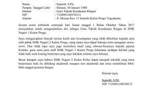 Contoh Surat Pengunduran Diri Guru TKR