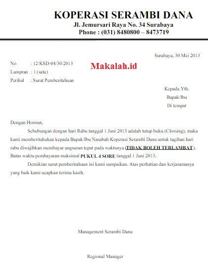 Contoh Surat Tagihan Piutang Jatuh Tempo