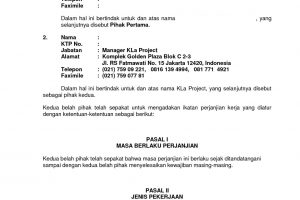 Contoh surat kontrak kerja perusahaan