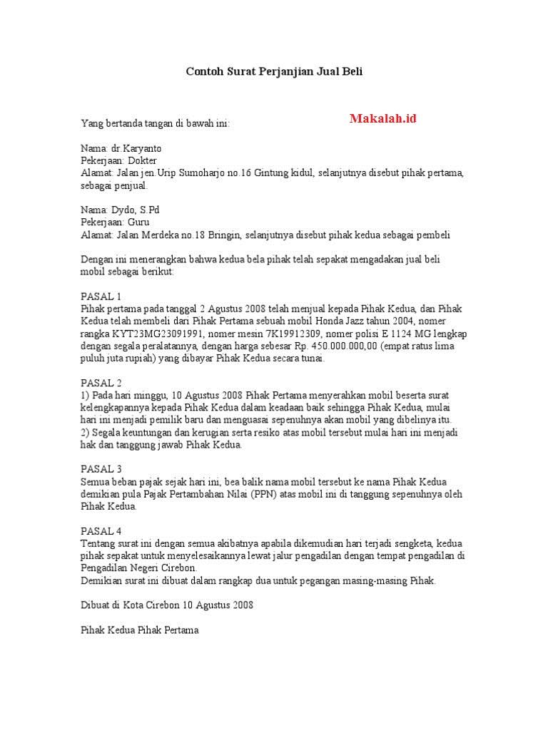 5 Contoh Surat Perjanjian Jual Beli Mobil Baru Dan Bekas