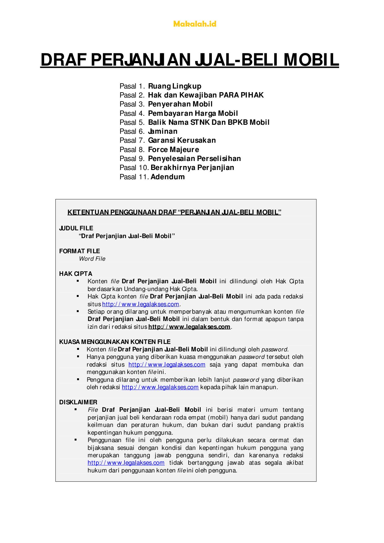 Pengertian Fungsi Dan Contoh Surat Jual Beli Mobil