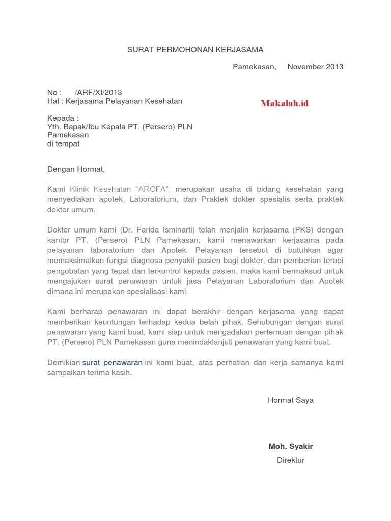 2 Contoh Surat Penawaran Kerjasama Bidang Kesehatan Dan Elektronik