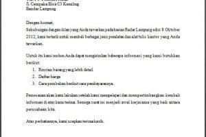 Surat permintaan penawaran barang elektronik