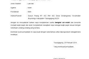 Contoh Surat Pernyataan Menjalankan Usaha atau Pekerjaan Bebas Bermaterai 1
