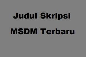 Judul Skripsi MSDM Terbaru