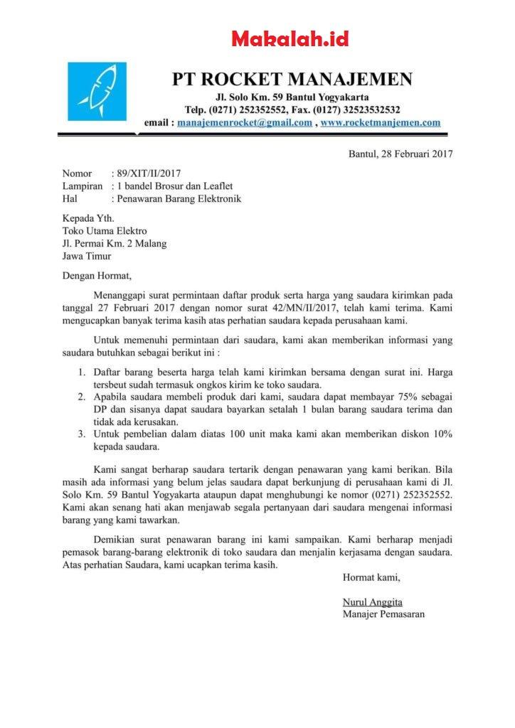 5 Contoh Surat Penawaran Bahasa Indonesia Dan Inggris