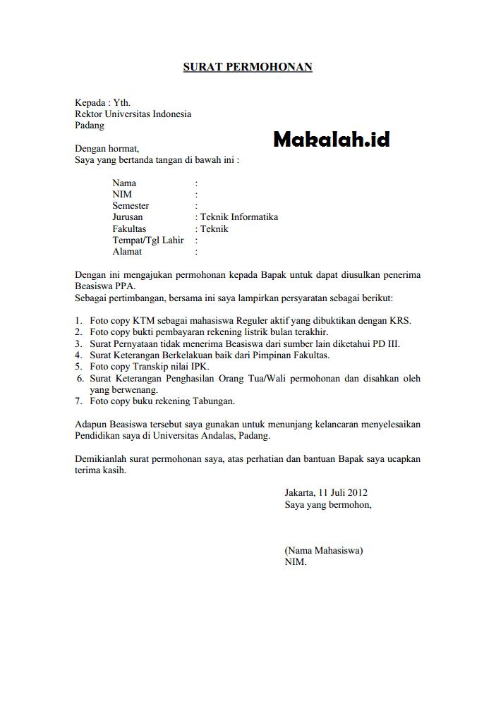 Contoh Surat Resmi Permohonan Presentasi
