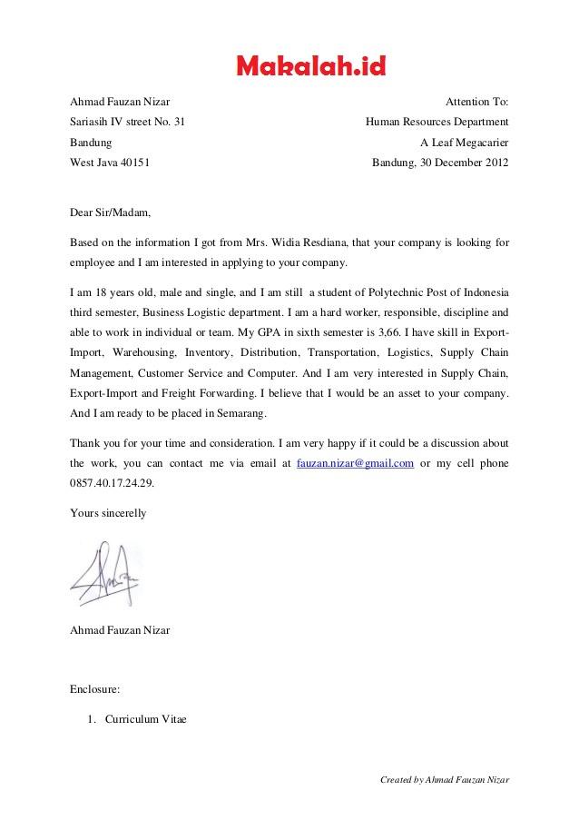 5 Contoh Application Letter Terbaik Bahasa Indonesia Dan Inggris