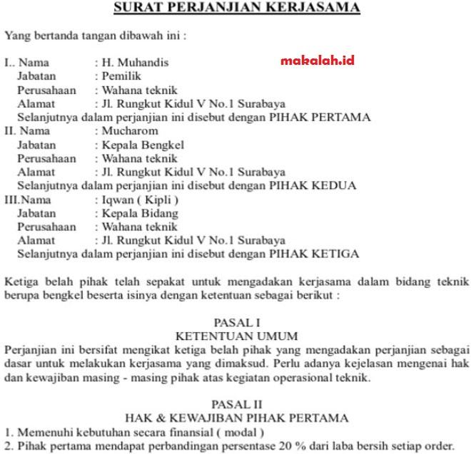 Contoh Surat Perjanjian Kerjasama Antar Perusahaan